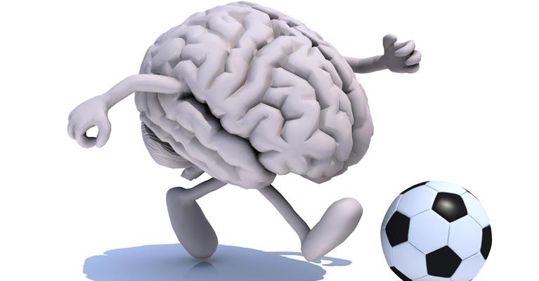 Soccer brain character playing football