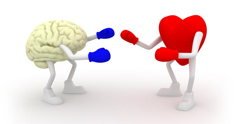 Graphic of a brain boxing a heart