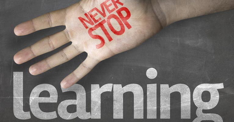 Never stop learning graphic