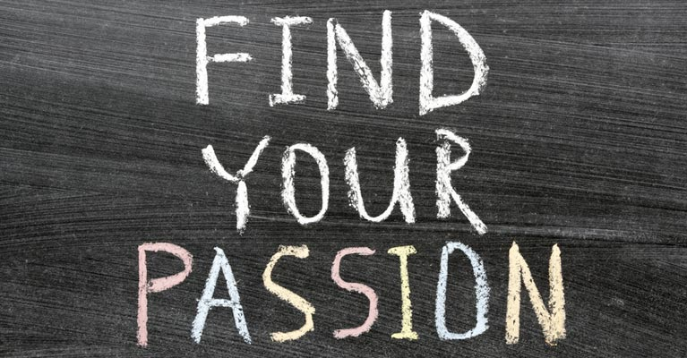 Find your passion caption on a blackboard