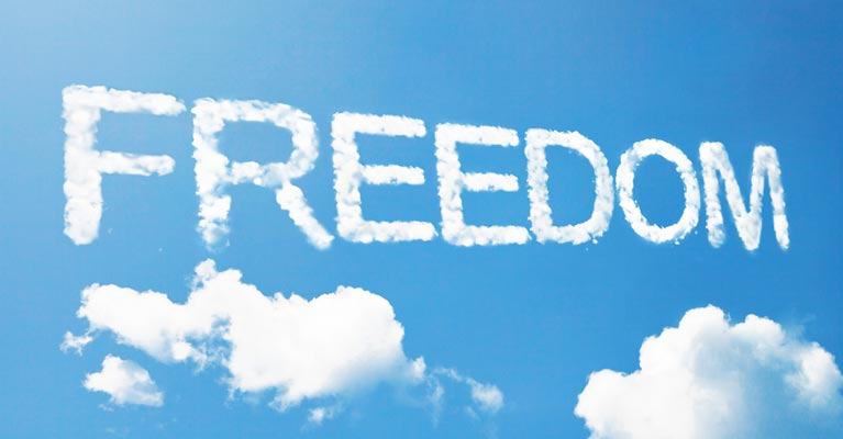 Freedom cloud caption
