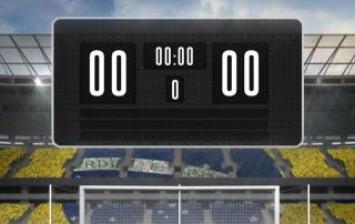 Scoreboard at a football stadium