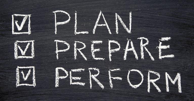 Plan prepare perform caption on a blackboard
