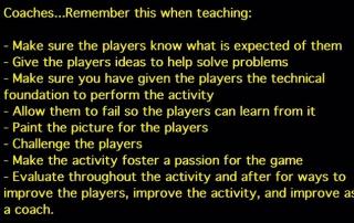 Soccer coaching text