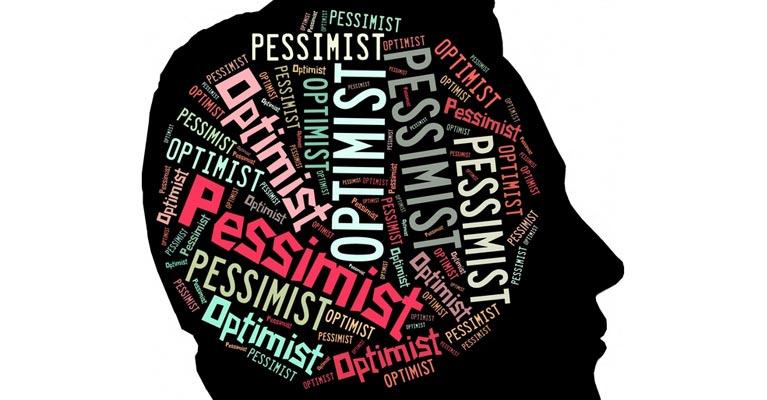 Optimist Pessimist words inside a head graphic