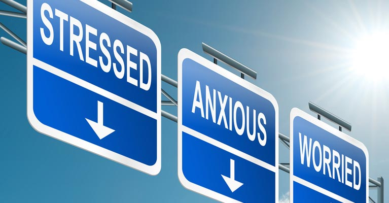 Sign showing stressed, anxious and worried messages