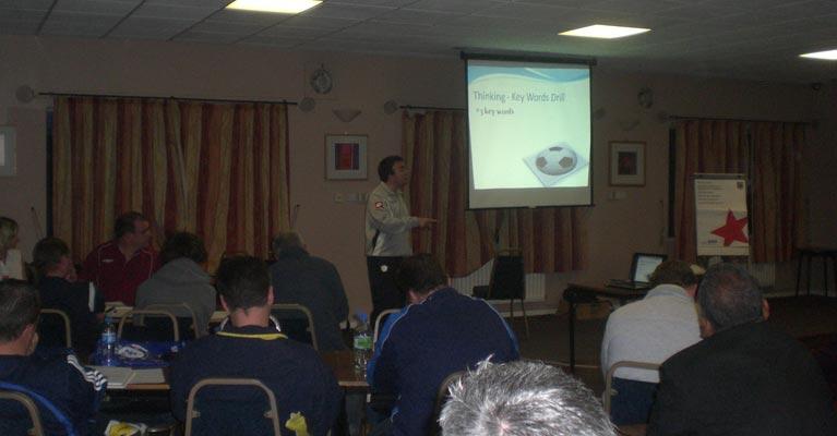 Dan Abrahams presenting at the Kent FA 1
