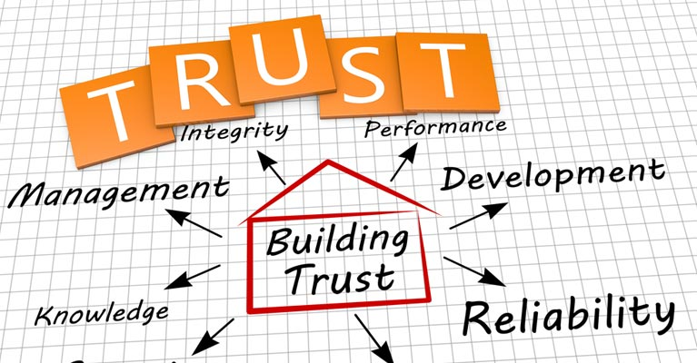Building trust graphic with captions