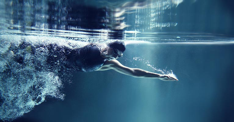 Underwater photo of a swimmer