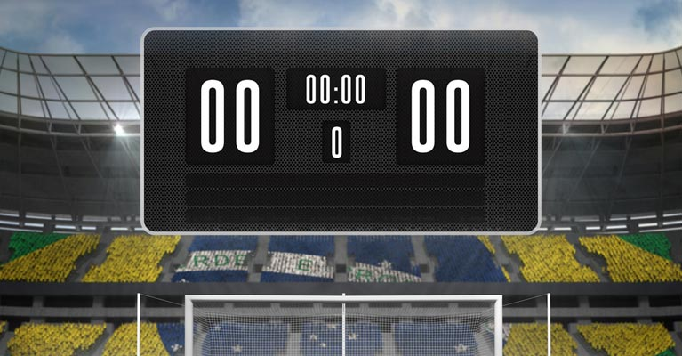 Scoreboard at a football stadium