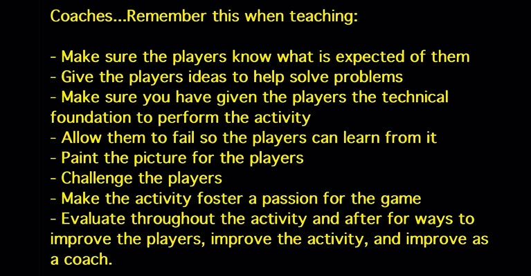 Soccer coaching text