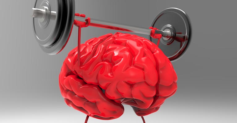 Brain lifting weights graphic