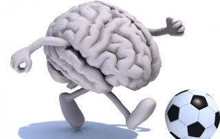 Brain playing football graphic